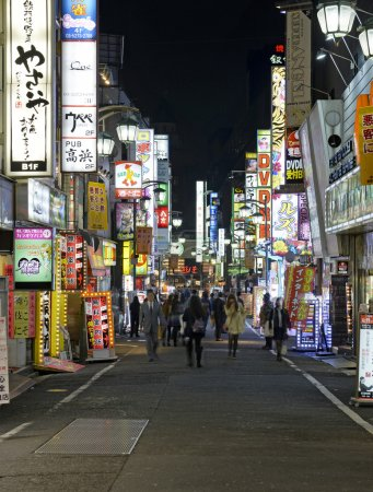 Tokyo. Circa November 2014. Despite reports of a slowing Japanese economy, the neon lights of Shinjuku reflect a vibrant hub of retail and commercial business, restaurants and entertainment.