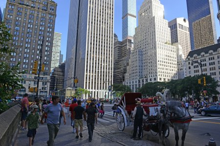Horse-drawn carriages in Manhattan with city background, New York