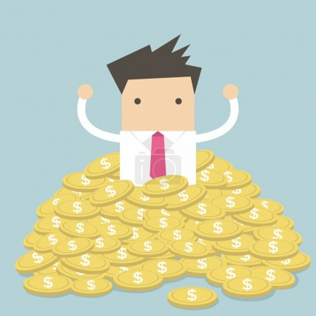 Businessman sitting in a pile of gold coins vector
