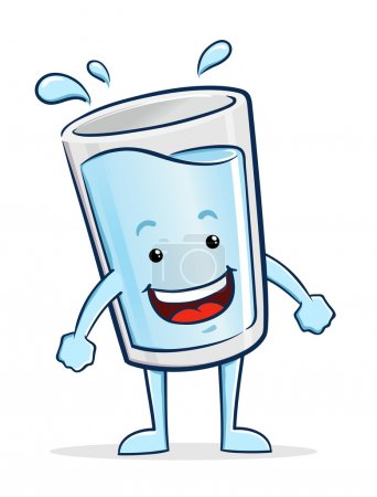 Glass of Water Cartoon Character