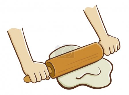 Hands rolling dough