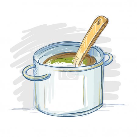 Illustration for Hand drawing of a cooking pot in doodle or sketch style, vector illustration - Royalty Free Image