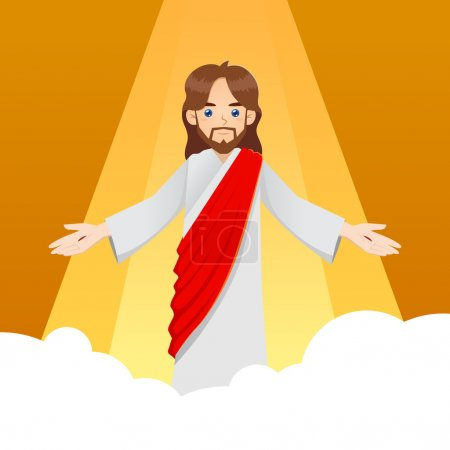 Illustration for Ascension of Jesus Christ with arm wide open, vector illustration - Royalty Free Image