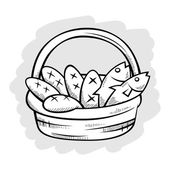 Five Bread And Two Fish in A Basket Line Art