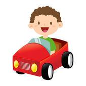 Happy Little Boy Riding a Toy Car