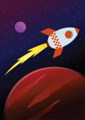 Rocket Ship Travel Through Planets in Space