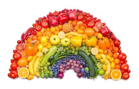 Photo for Fruit and vegetable rainbow isolated on white background - Royalty Free Image