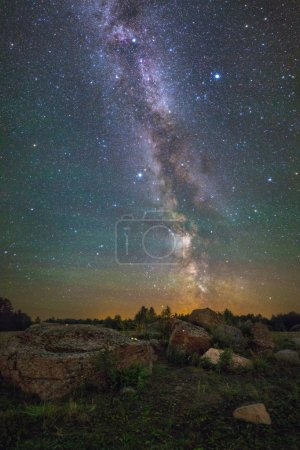 Photo for Bright Milky Way over the rocks - Royalty Free Image