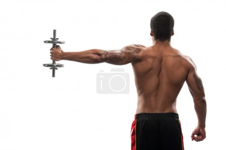 Young African sportsman exercising dumbbell
