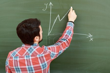 Student draws graph on blackboard