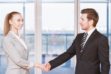 Handshake of two partners
