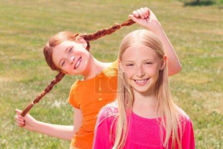 Pretty young girls having fun
