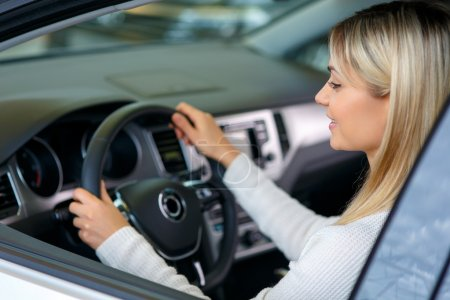 Nice woman choosing a car