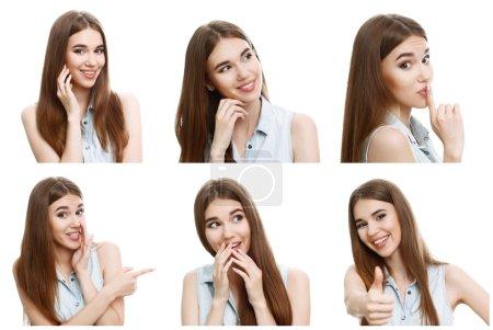 Photo pour Des émotions positives. Collage de jeunes jolies filles imite de manière extrêmement amusante et positive - image libre de droit
