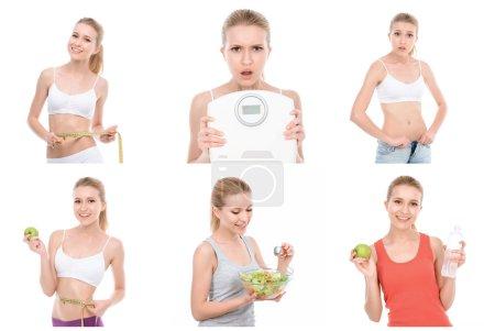 Photo pour Une fille en forme. Collage de jeune fille mince et attrayante suit un régime alimentaire et semble préoccupé par son poids - image libre de droit