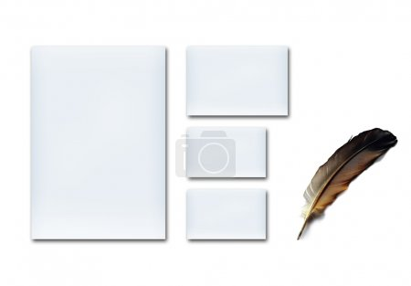 Blank paper, business card with feather