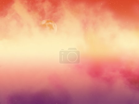 Moon on cloudy orange sky
