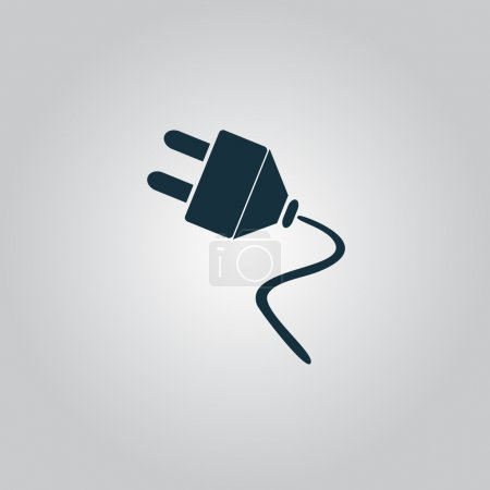 Illustration pour Prise électrique. Icône, panneau ou bouton plat isolé sur fond gris. Collection moderne tendance concept design style vectoriel illustration symbole - image libre de droit
