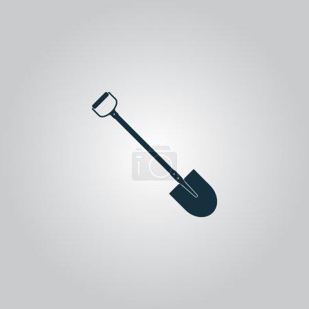 Illustration pour Pelle. Icône, panneau ou bouton plat isolé sur fond gris. Collection moderne tendance concept design style vectoriel illustration symbole - image libre de droit