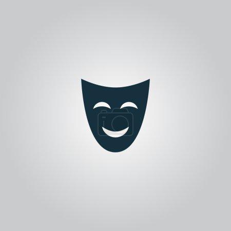 Illustration pour Joyeux masque. Icône ou panneau plat isolé sur fond gris. Collection moderne tendance concept design style vectoriel illustration symbole - image libre de droit
