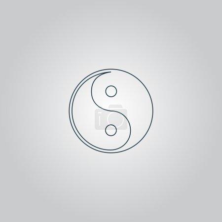 Illustration pour Ying-yang icône de l'harmonie et de l'équilibre. Panneau plat isolé sur fond gris. Collection moderne tendance concept design style vectoriel illustration symbole - image libre de droit