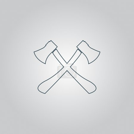 Illustration for Two axes with wooden handles. Flat web icon or sign isolated on grey background. Collection modern trend concept design style vector illustration symbol - Royalty Free Image