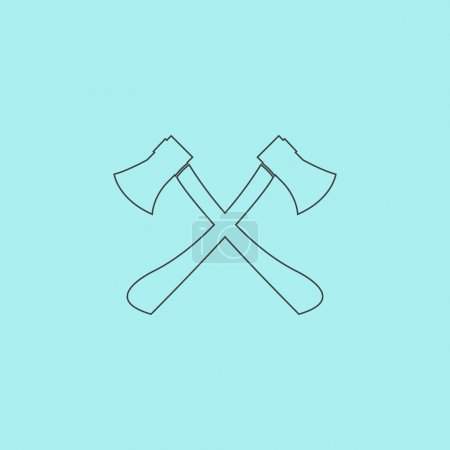Illustration for Two axes with wooden handles. Simple outline flat vector icon isolated on blue background - Royalty Free Image