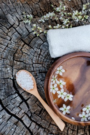 Spa and wellness setting with sea salt