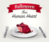 Vector illustration of Halloween menu - Human bloody heart on plate with knife and fork Red ribbon with title - Halloween is above food
