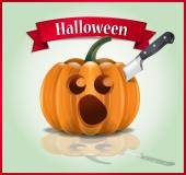 Vector illustration - cartoon character of big orange pumpkin with scared face because it has knife in head Red ribbon with title Halloween is above pumpkin