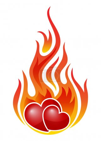 Burning hearts isolated on white