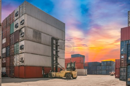 forklift handling container box loading for logistic concept