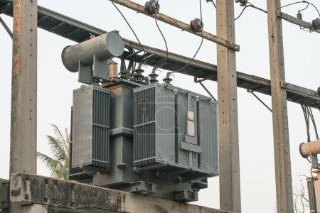 Transformer on electric pole