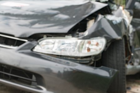 damaged car after road traffic accident