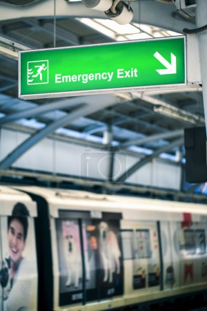 Fire exit signs in train stations.