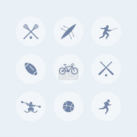 College sports isolated icons, sports symbols, vector illustration