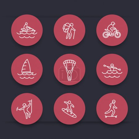 Extreme outdoor activities round red line icons, vector illustration