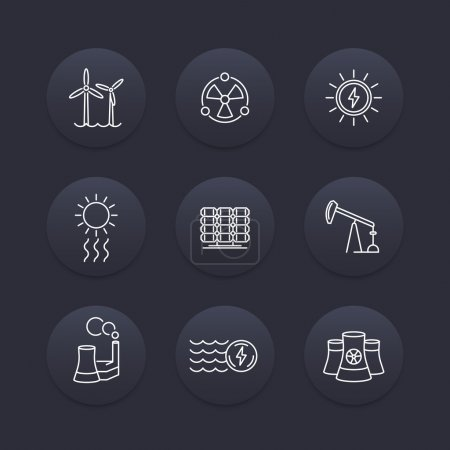 Power, energy production, energetics, nuclear energy line icons, dark set, vector illustration