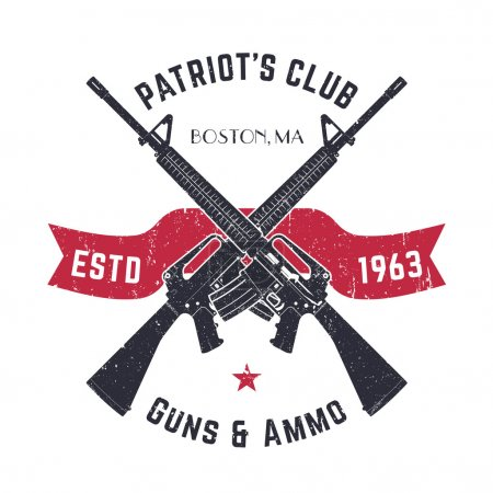 Patriots club vintage logo with crossed guns, gun shop vintage sign with assault rifles, gun store emblem on white, vector