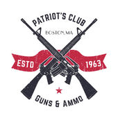 Patriots club vintage logo with crossed guns gun shop vintage sign with assault rifles gun store emblem on white vector