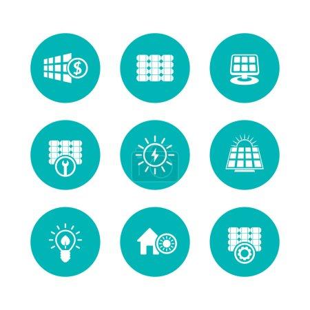 Illustration pour Icônes d'énergie solaire, panneaux, énergies alternatives, ensemble d'icônes rondes plates vertes, illustration vectorielle - image libre de droit