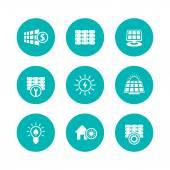 Solar energy icons panels alternative energetics flat round green icons set vector illustration