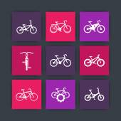 bicycle cycling bike electric bike fat-bike material design icons set vector illustration