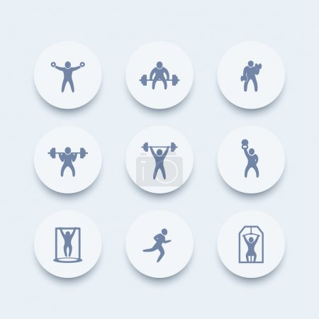 Gym, fitness exercises round icons, gym training, workout icon, fitness exercises pictograms, vector illustration