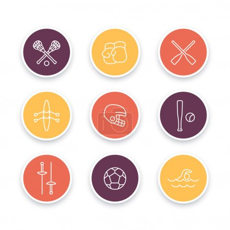 sports and games line icons, round sports symbols, boxing, fencing, lacrosse icons, vector illustration
