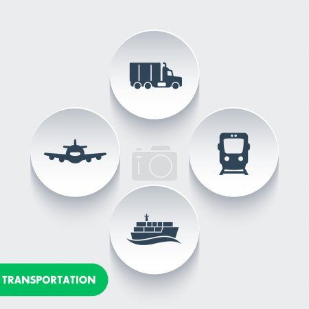 transportation industry icons, cargo train vector, air transport, cargo ship, maritime transport, cargo truck icon, transportation