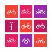 Bicycle cycling bike electric bike fat-bike bicycle repair service square icons on white vector illustration