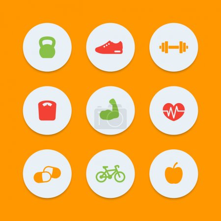 Fitness icons, simple fitness pictograms, round color icons, vector illustration