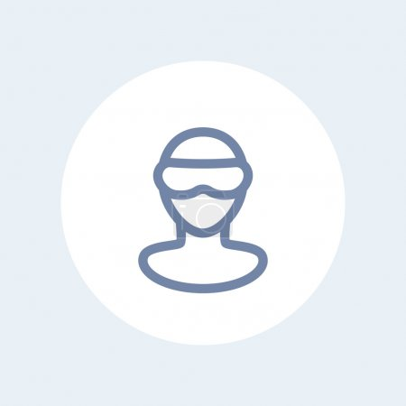 VR glasses line icon, virtual reality headset pictogram, man in virtual reality glasses isolated icon, vector illustration