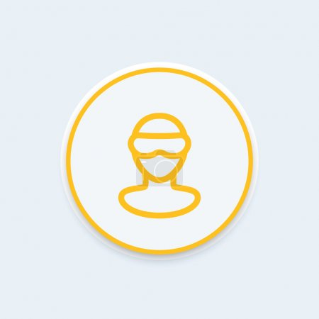 VR glasses line icon, man in virtual reality glasses, virtual reality headset pictogram, round icon, vector illustration